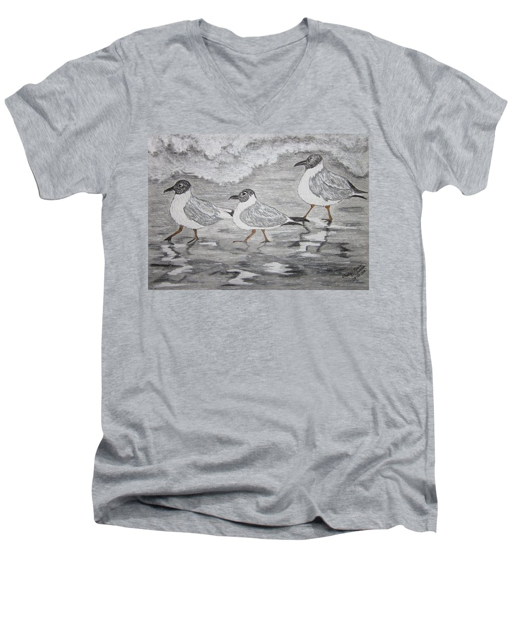 Sea Gulls Men's V-Neck T-Shirt featuring the painting Sea Gulls Dodging The Ocean Waves by Kathy Marrs Chandler