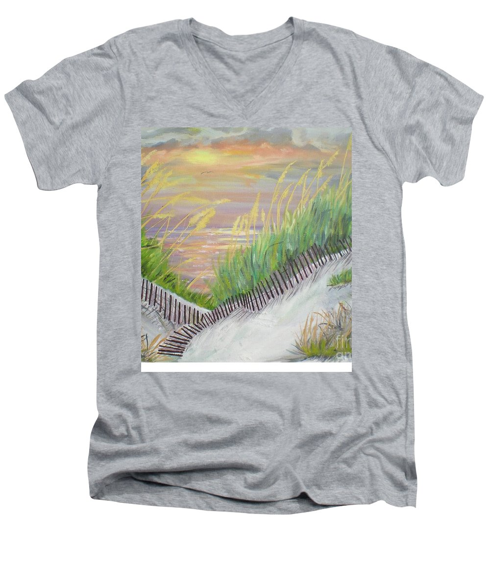 Seascape Men's V-Neck T-Shirt featuring the painting Sea Oats by Hal Newhouser