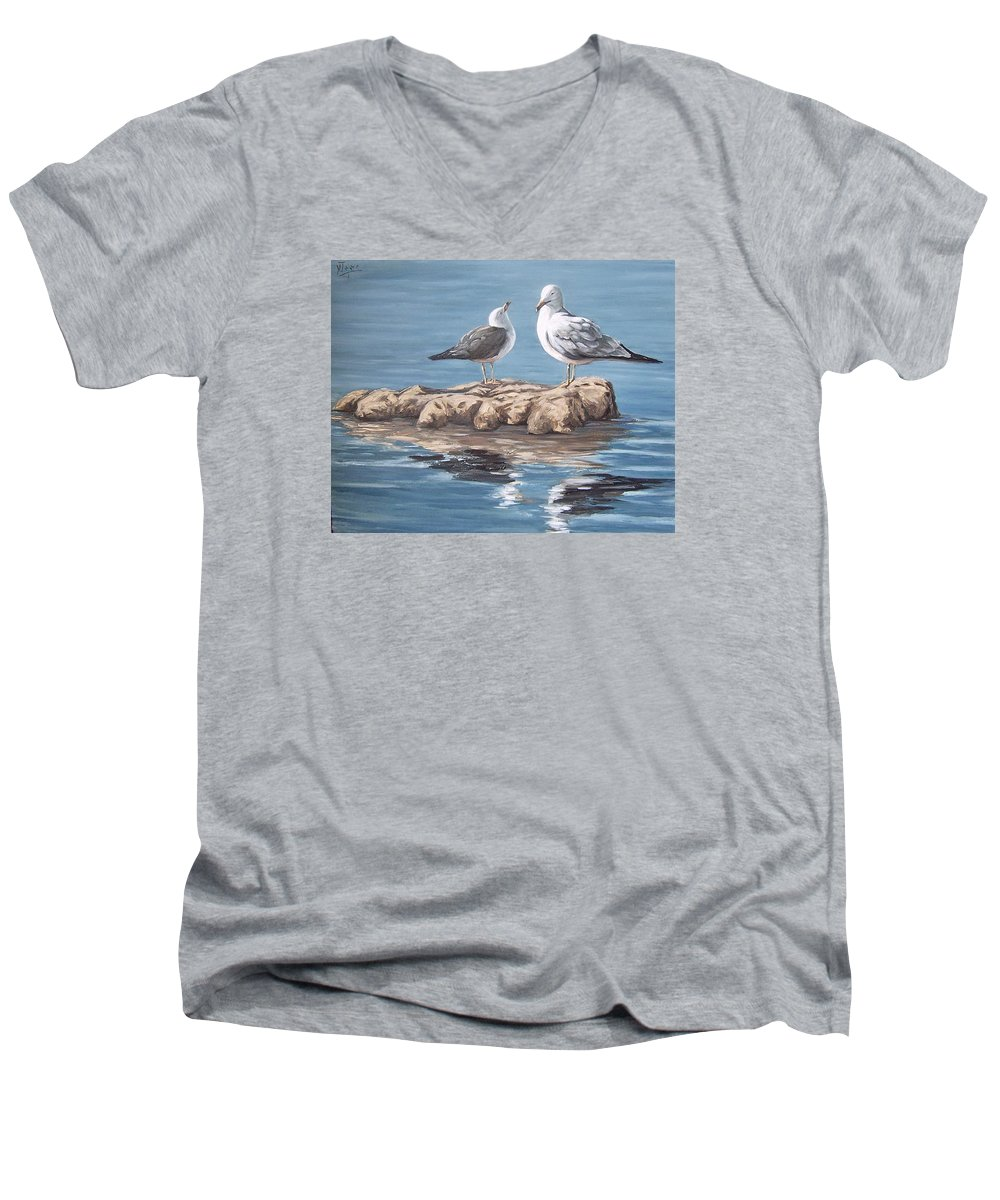 Seagulls Sea Seascape Water Bird Men's V-Neck T-Shirt featuring the painting Seagulls In The Sea by Natalia Tejera