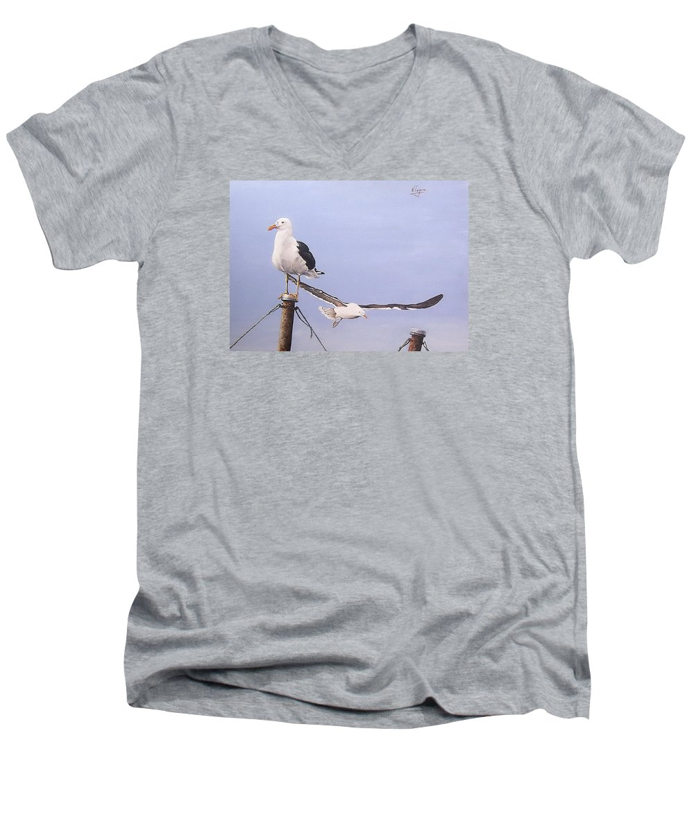 Seascape Gulls Bird Sea Men's V-Neck T-Shirt featuring the painting Seagulls by Natalia Tejera