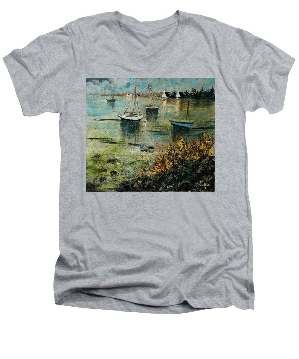 Seascape Men's V-Neck T-Shirt featuring the print Seascape 78 by Pol Ledent