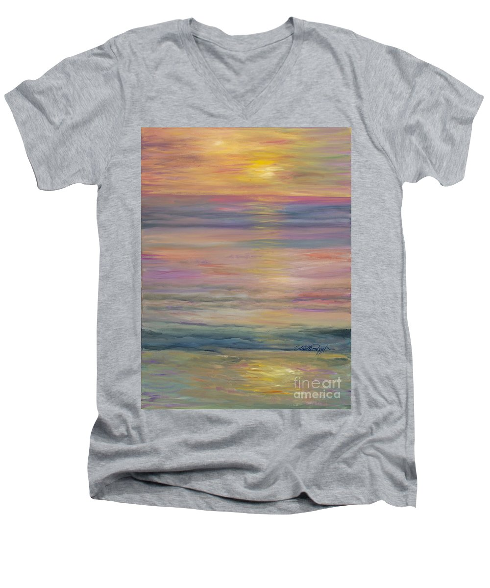 Sea Men's V-Neck T-Shirt featuring the painting Seascape by Nadine Rippelmeyer
