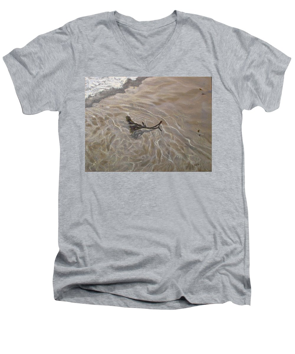 Seascape Men's V-Neck T-Shirt featuring the painting Seashore Reflections by Lea Novak