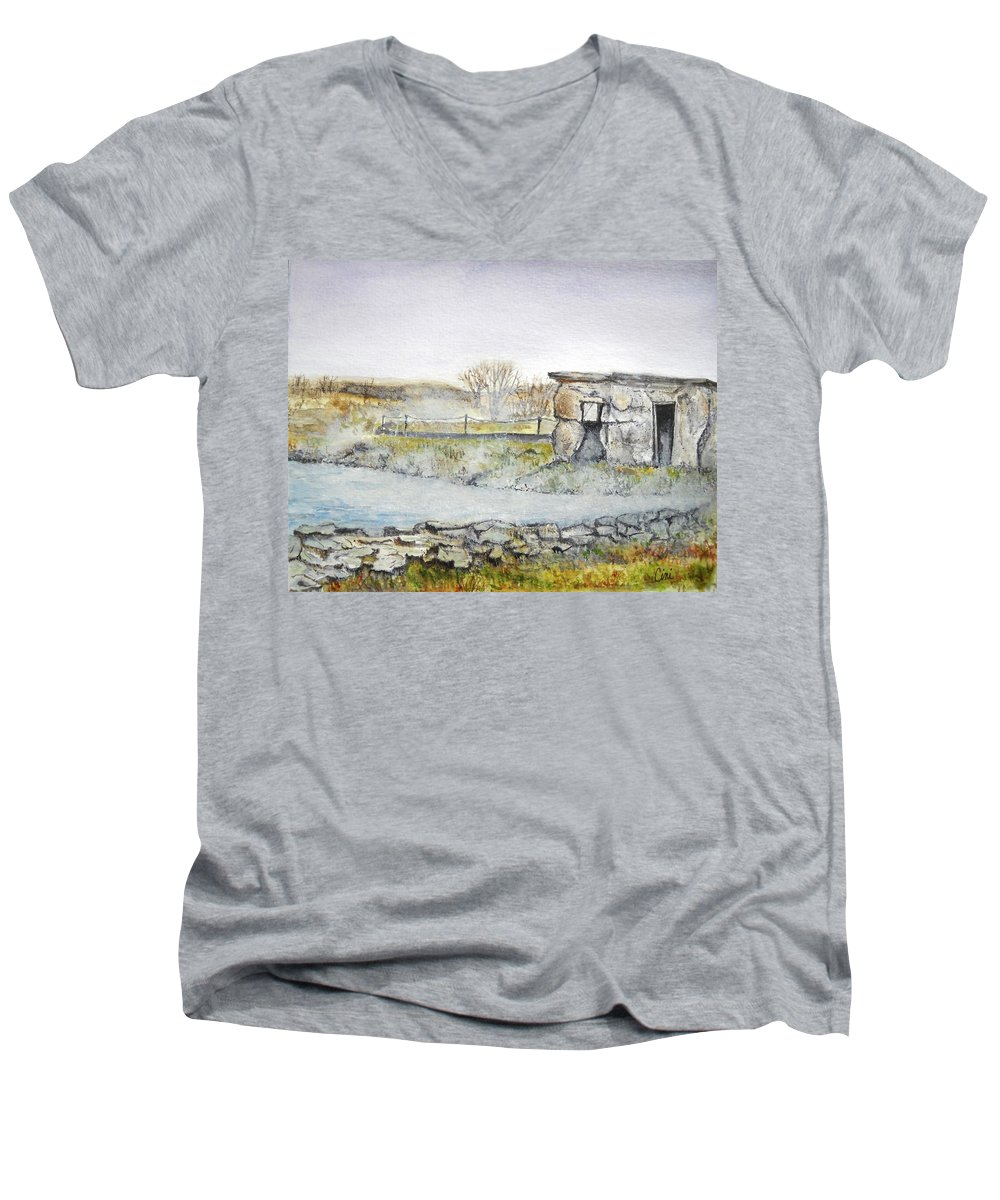 Peaceful Men's V-Neck T-Shirt featuring the painting Secret Lagoon by Lisa Cini