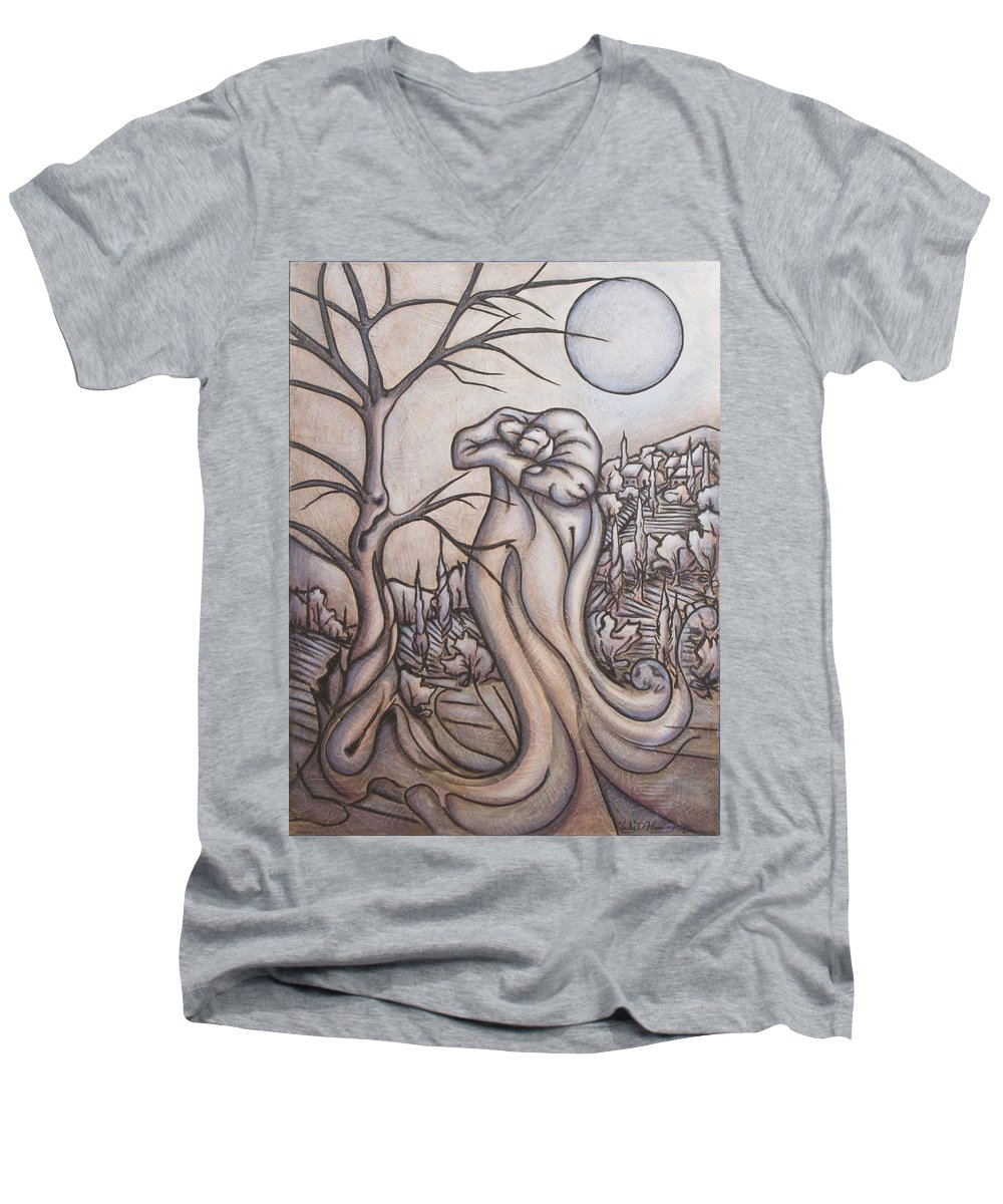 Dream. Moon Men's V-Neck T-Shirt featuring the painting Secrets And Dreams by Judy Henninger