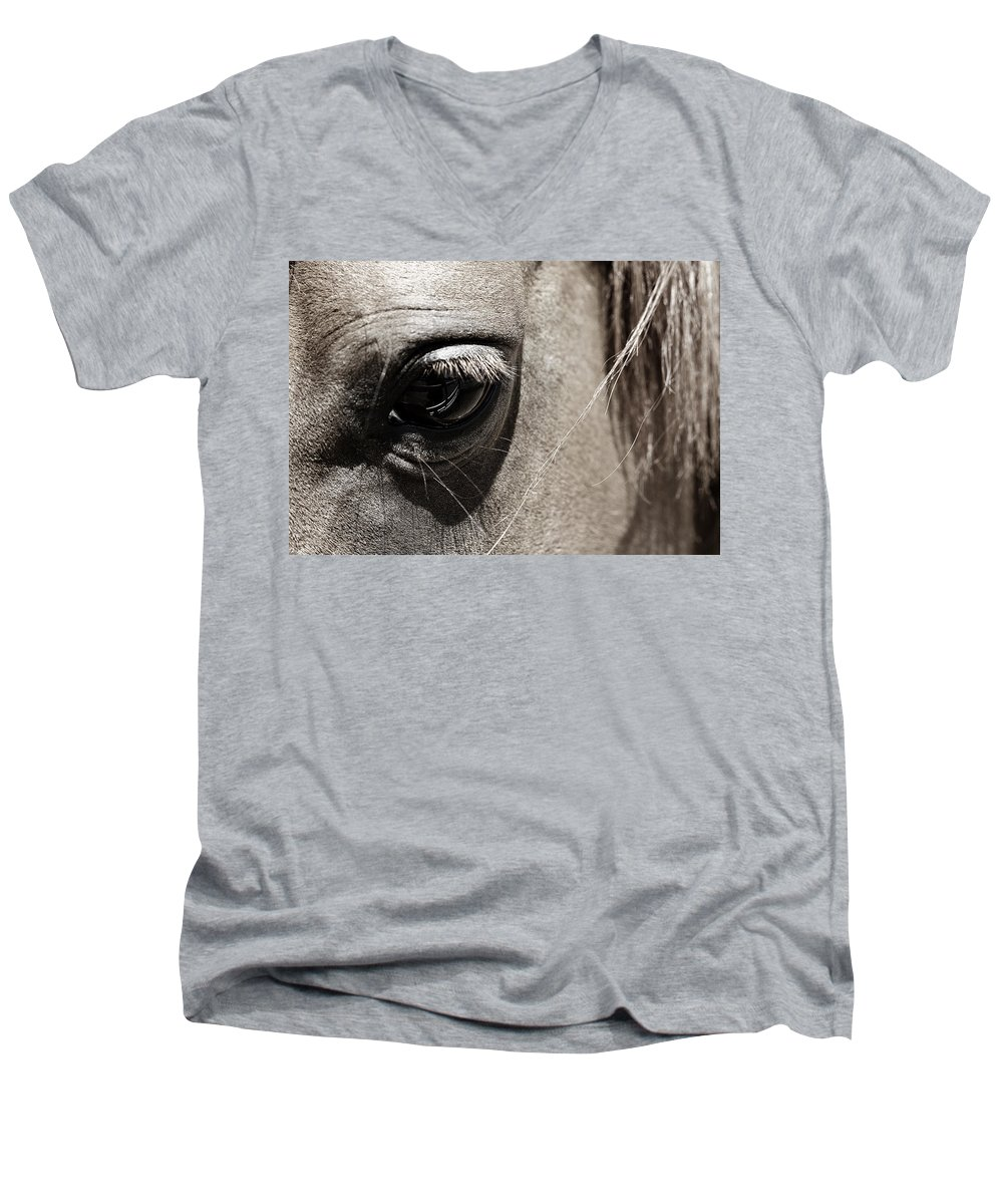 Americana Men's V-Neck T-Shirt featuring the photograph Stillness In The Eye Of A Horse by Marilyn Hunt