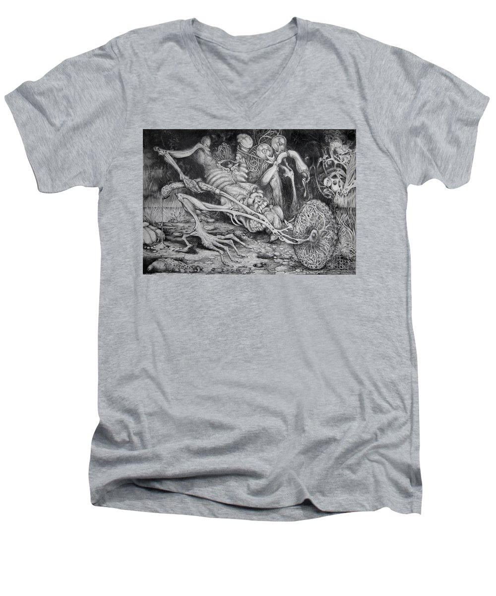 Surrealism Men's V-Neck T-Shirt featuring the drawing Selfpropelled Beastie Seeder by Otto Rapp