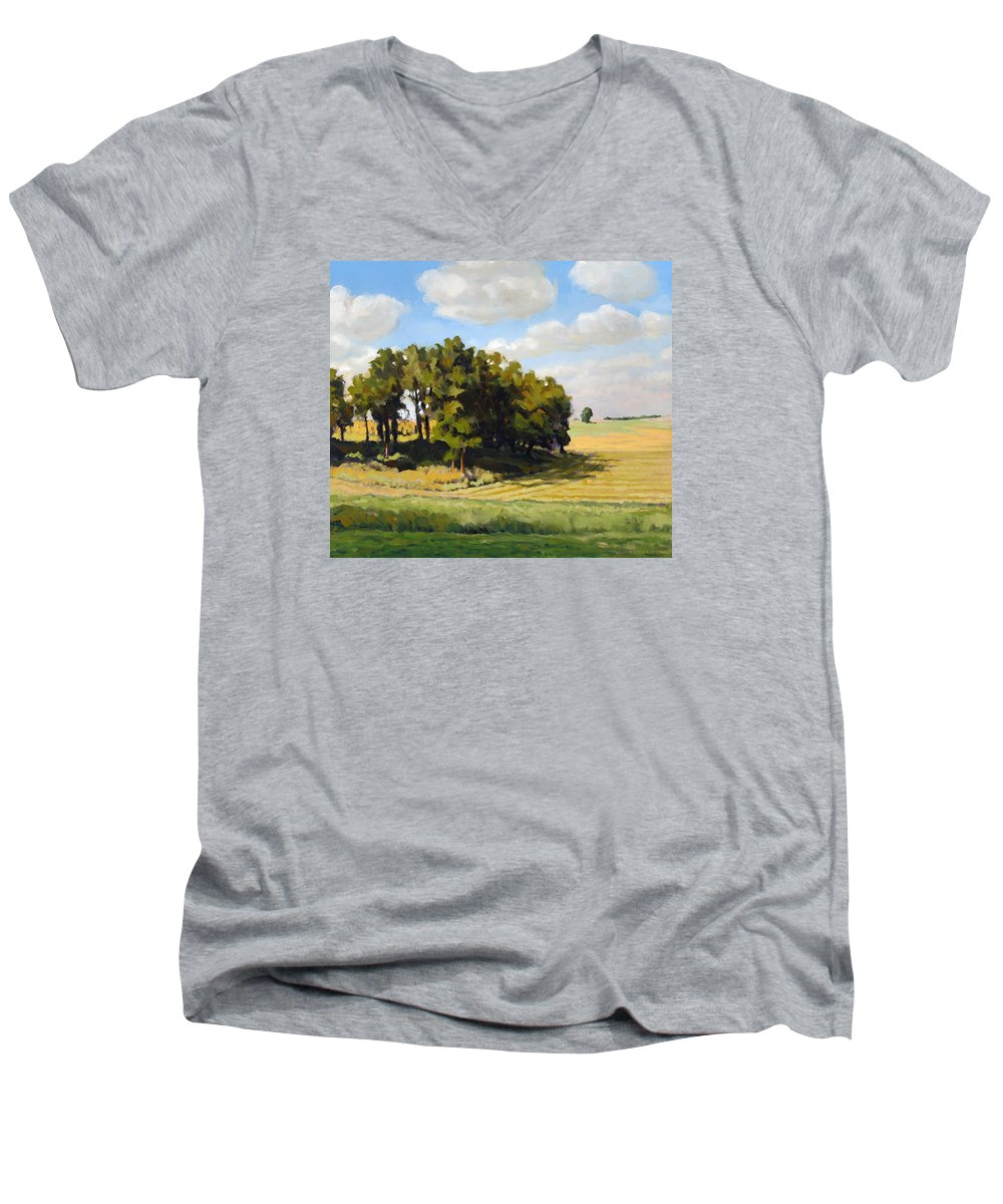 Landscape Men's V-Neck T-Shirt featuring the painting September Summer by Bruce Morrison