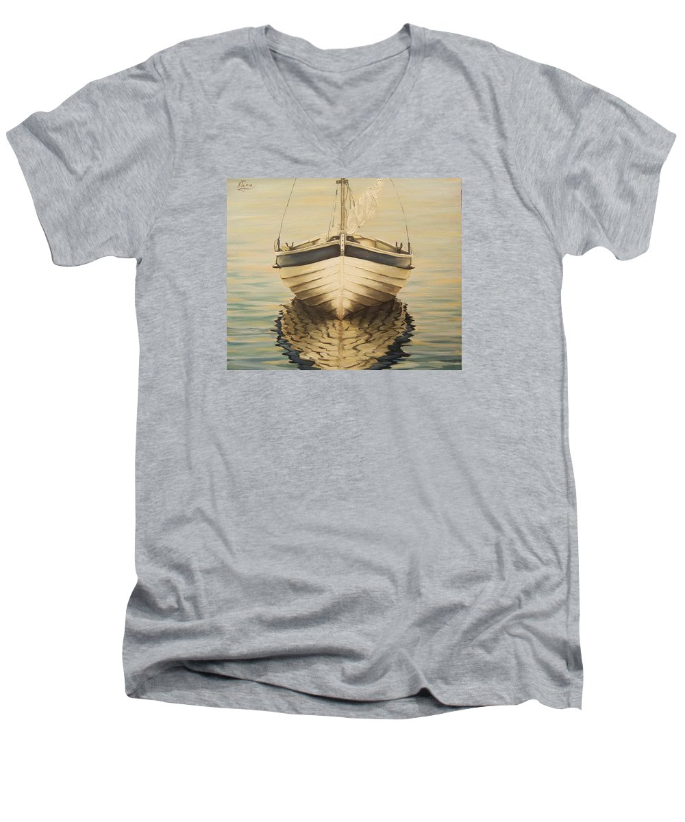 Seascape Men's V-Neck T-Shirt featuring the painting Serenity by Natalia Tejera