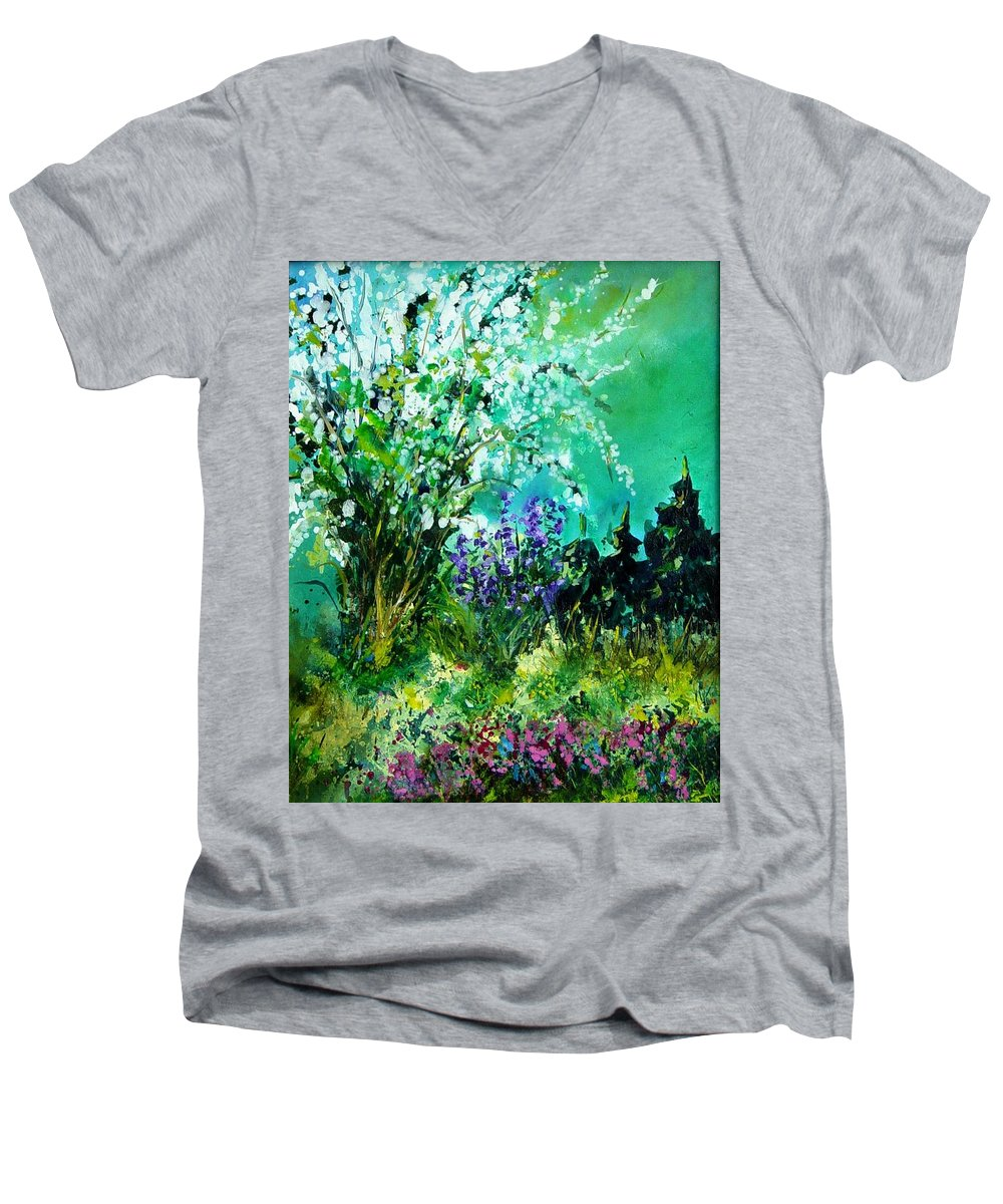 Tree Men's V-Neck T-Shirt featuring the painting Seringa by Pol Ledent