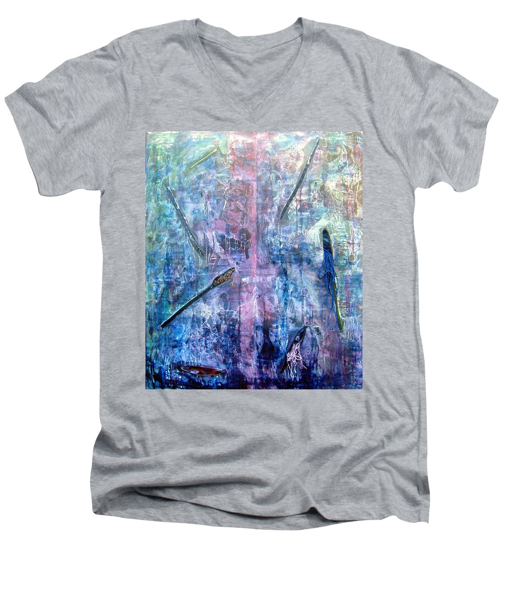 Abstract Men's V-Neck T-Shirt featuring the painting Seven Zippers by Nancy Mueller