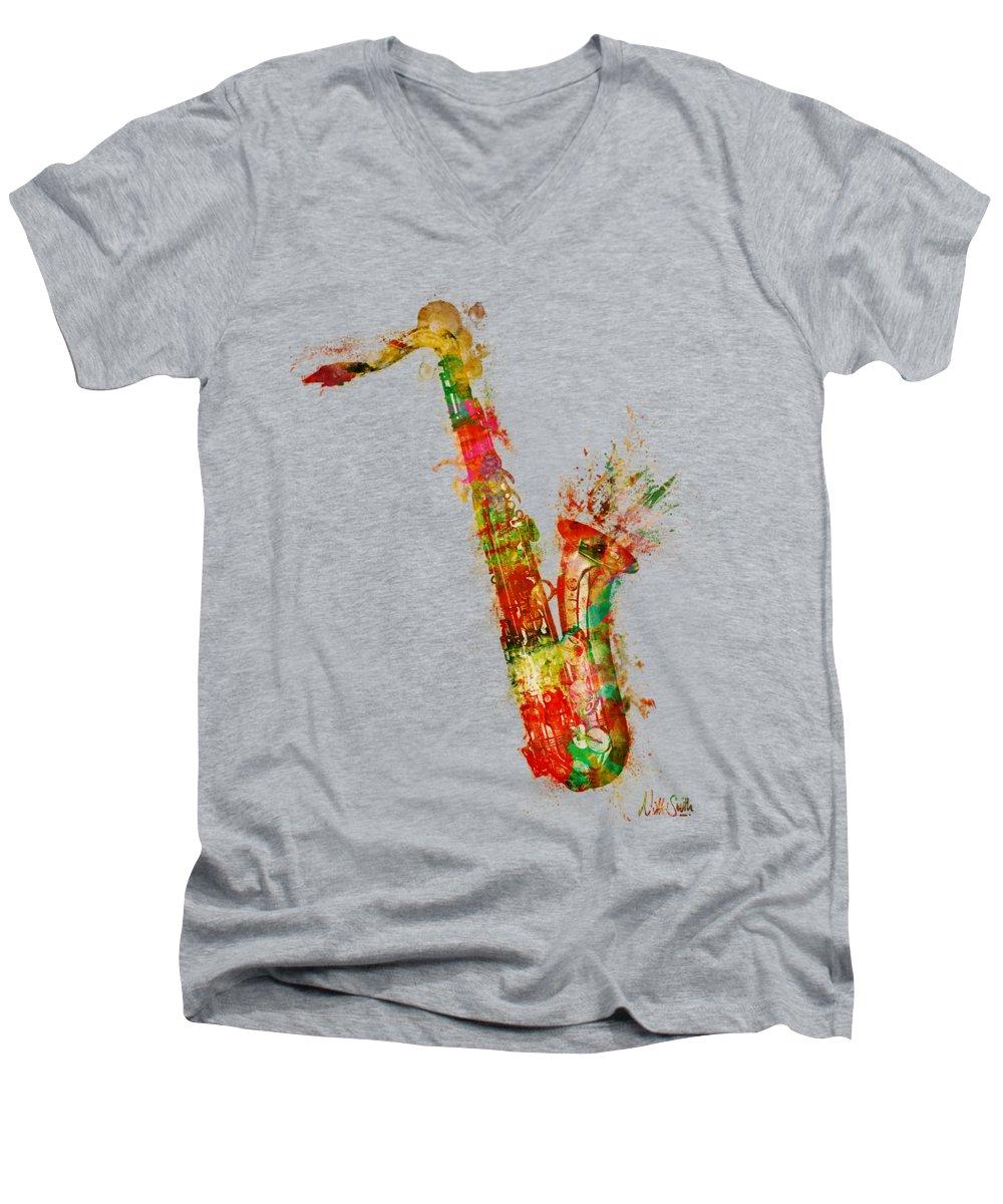 Saxophone V-Neck T-Shirts