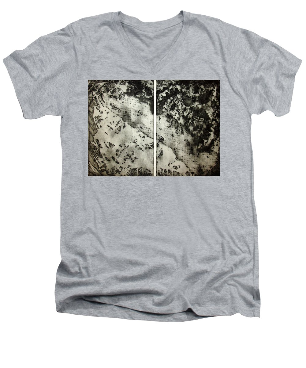 Etching Men's V-Neck T-Shirt featuring the drawing Shadows And Lace by Nancy Mueller