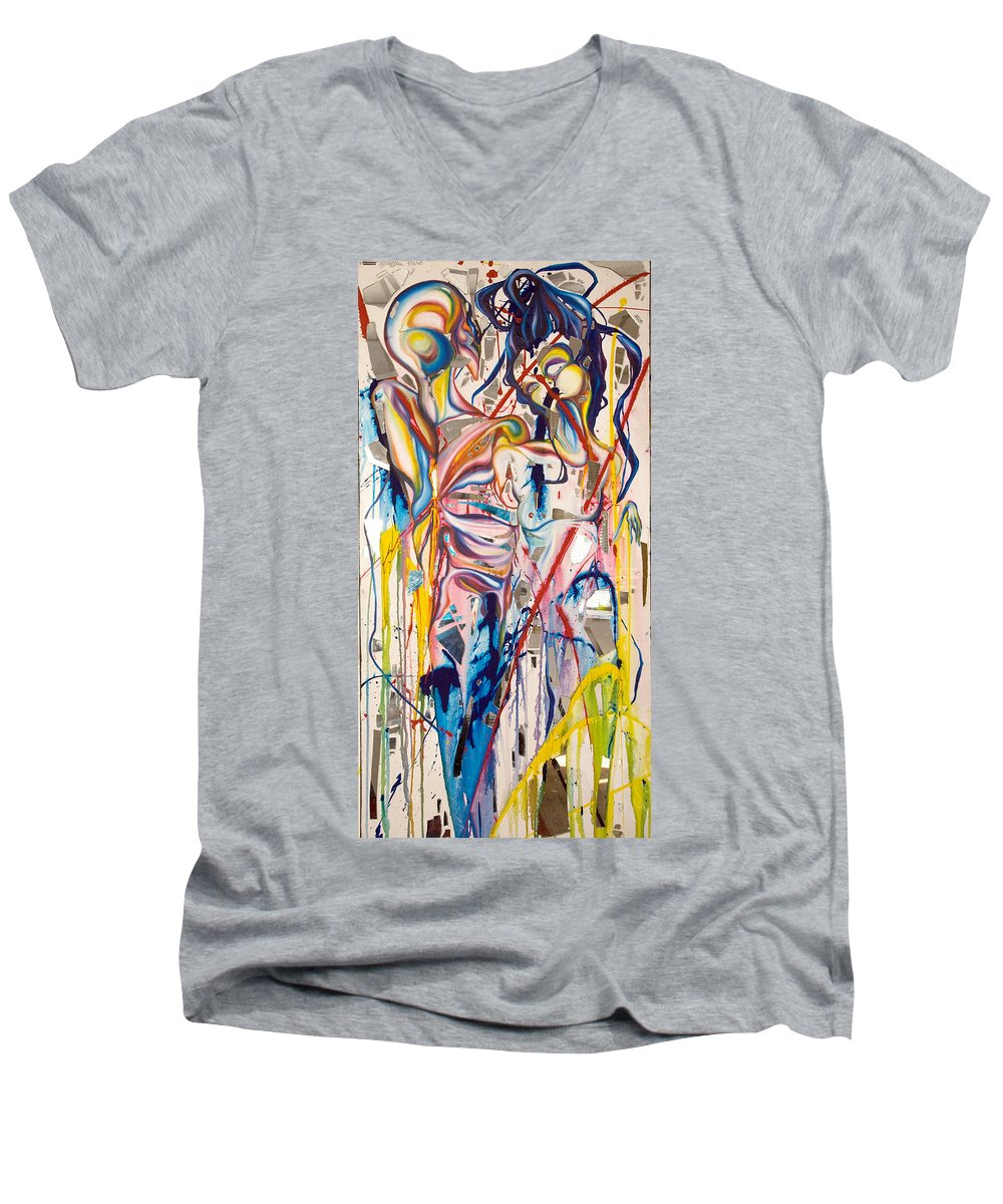 Abstract Men's V-Neck T-Shirt featuring the painting Shards by Sheridan Furrer