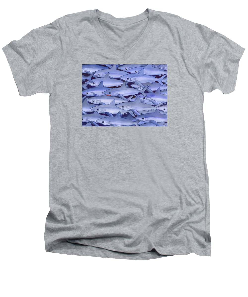 Shark Men's V-Neck T-Shirt featuring the painting Sharks by Catherine G McElroy