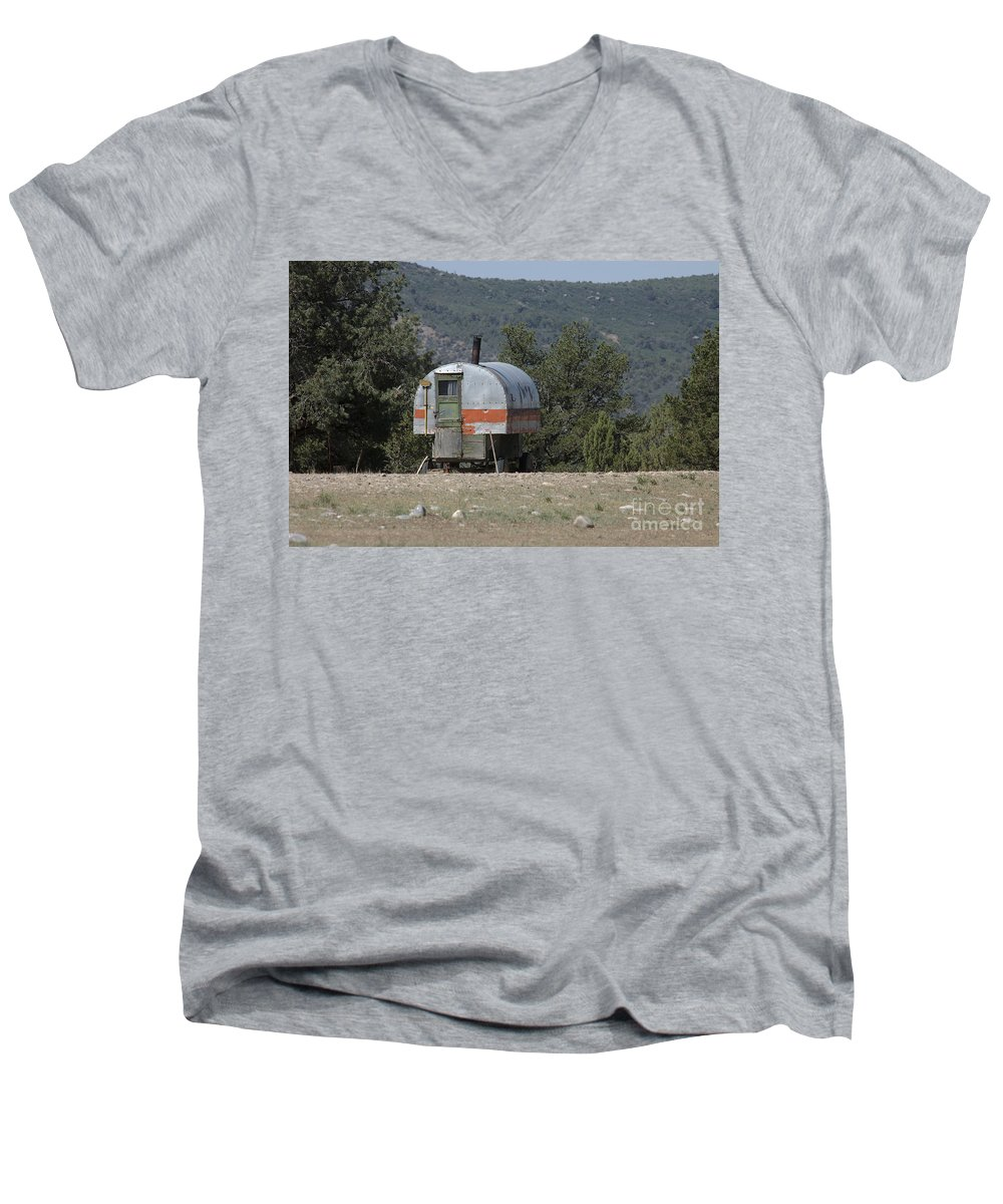 Sheep Men's V-Neck T-Shirt featuring the photograph Sheep Herder's Wagon by Jerry McElroy