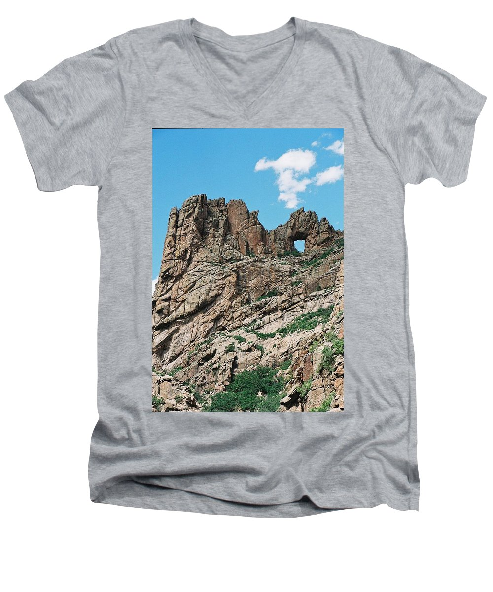 Shelf Road Men's V-Neck T-Shirt featuring the photograph Shelf Road Rock Formations by Anita Burgermeister