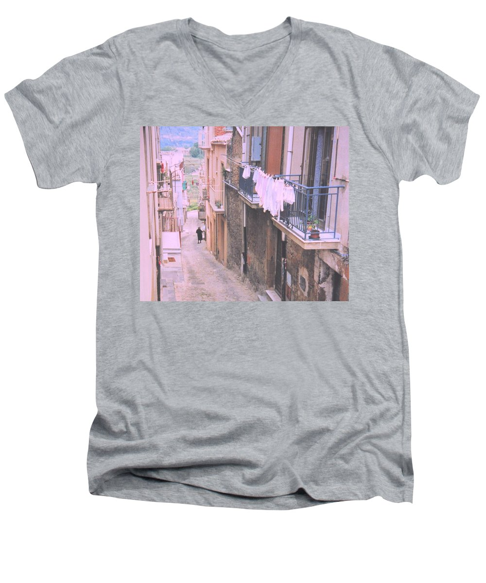 Sicily Men's V-Neck T-Shirt featuring the photograph Sicily by Ian MacDonald