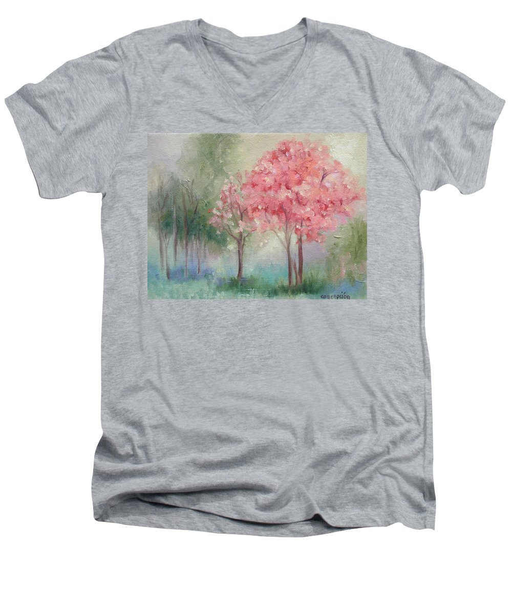 Spring Men's V-Neck T-Shirt featuring the painting Sign Of Spring by Ginger Concepcion