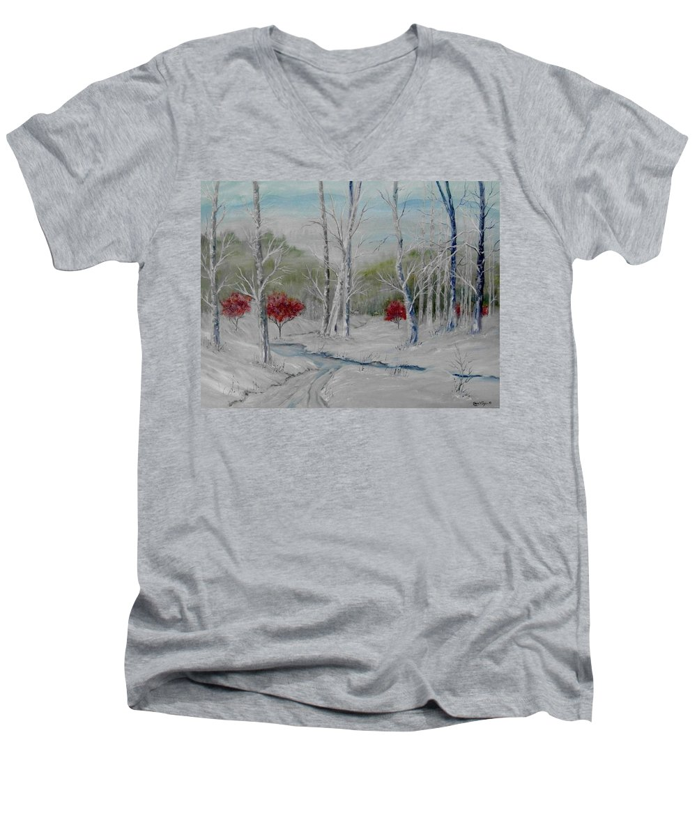 Snow; Winter; Birch Trees Men's V-Neck T-Shirt featuring the painting Silence by Ben Kiger