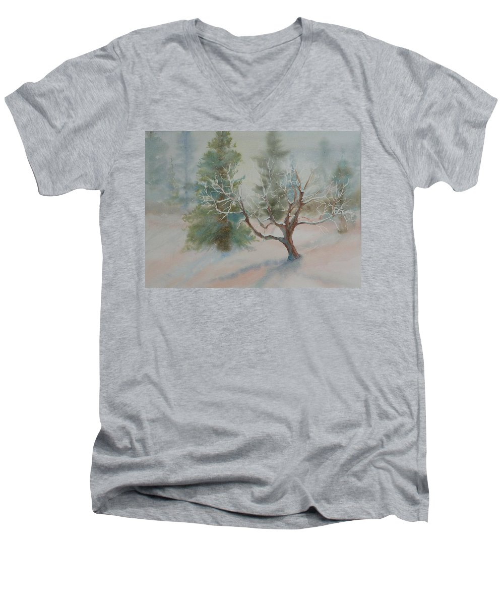 Snow Men's V-Neck T-Shirt featuring the painting Silence by Ruth Kamenev