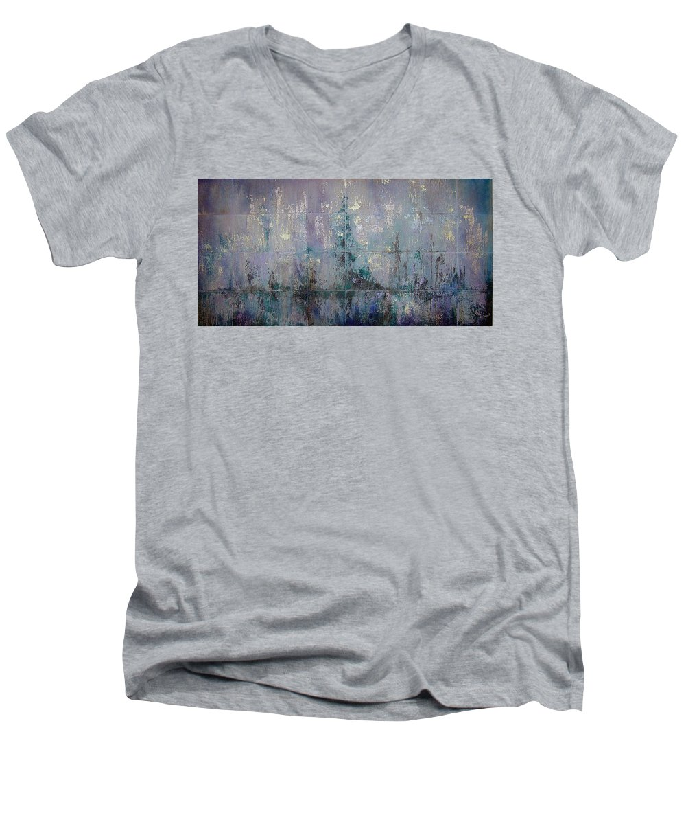 Abstract Men's V-Neck T-Shirt featuring the painting Silver And Silent by Shadia Derbyshire