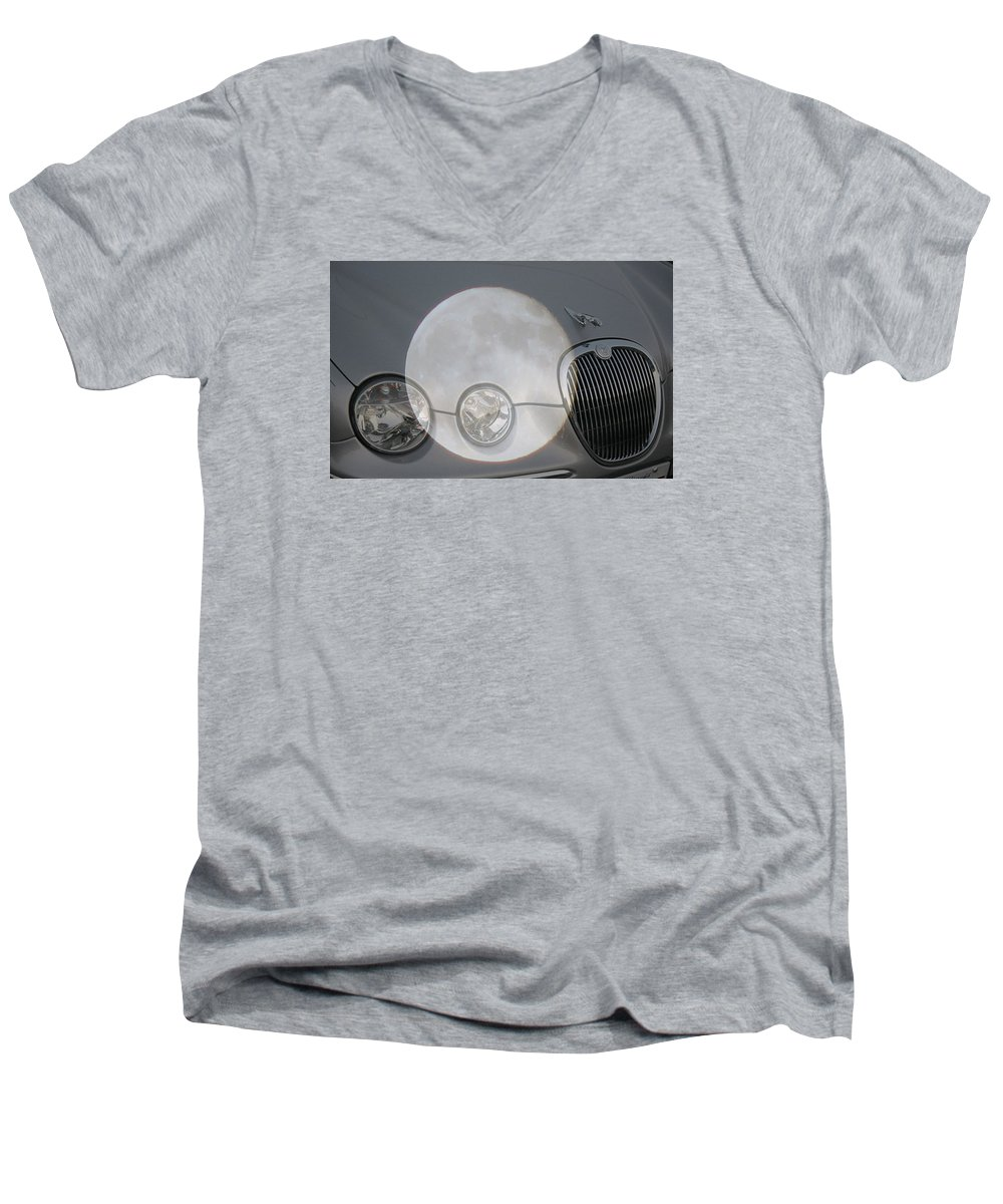 Car Men's V-Neck T-Shirt featuring the photograph Silver Moon Jaguar by J R  Seymour