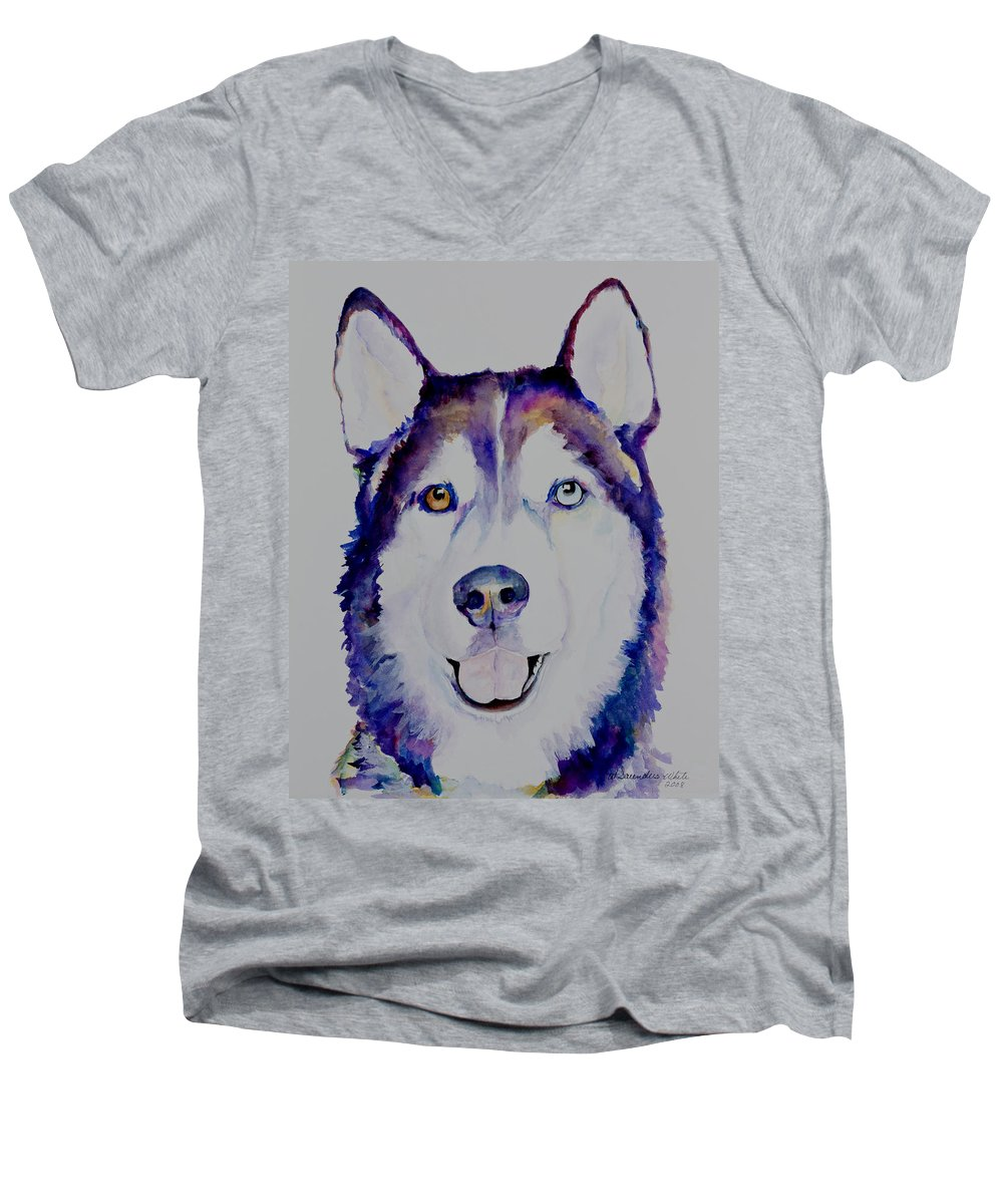 Siberian Husky Men's V-Neck T-Shirt featuring the painting Simba by Pat Saunders-White