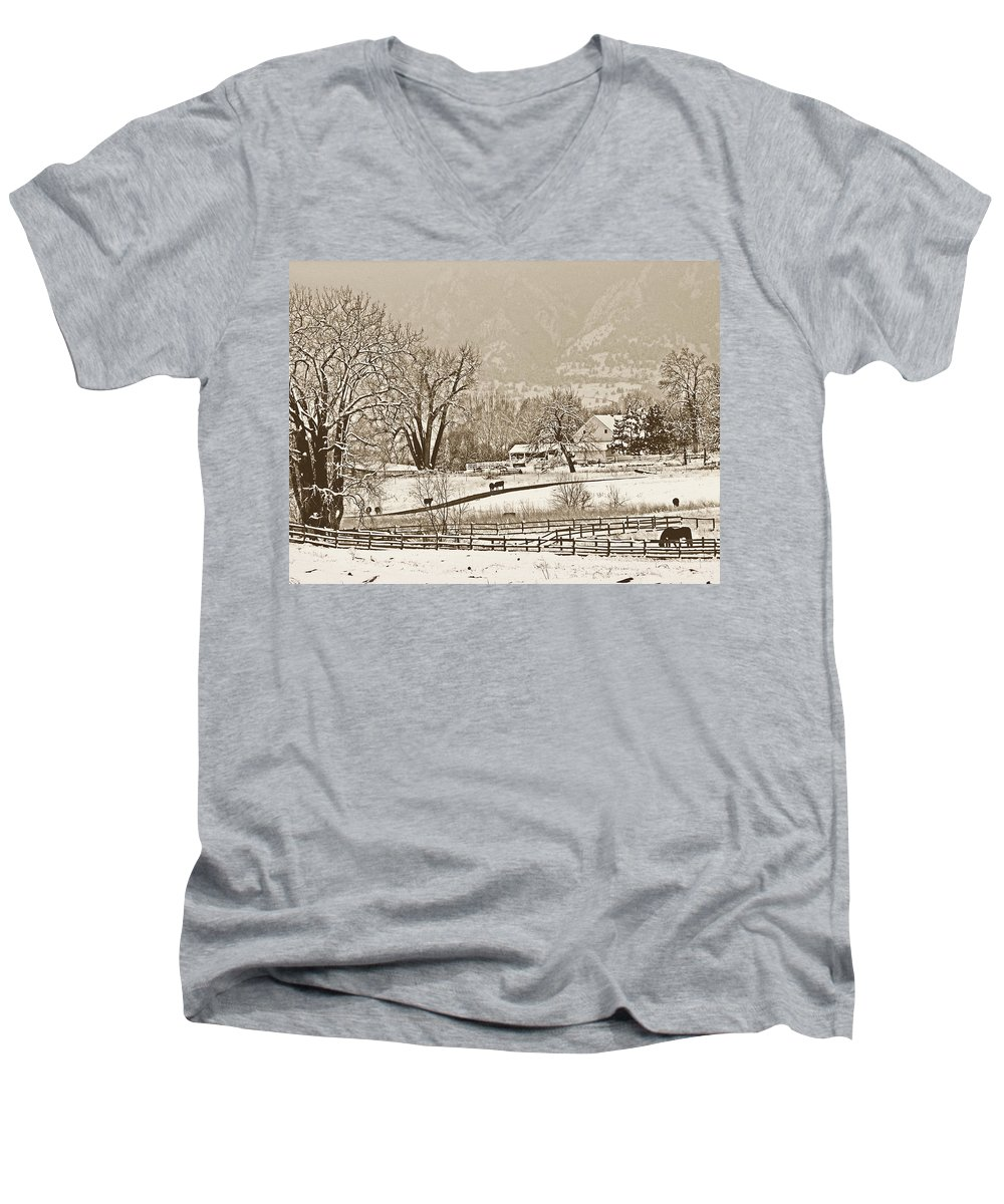 Landscape Men's V-Neck T-Shirt featuring the photograph Simpler Times by Marilyn Hunt