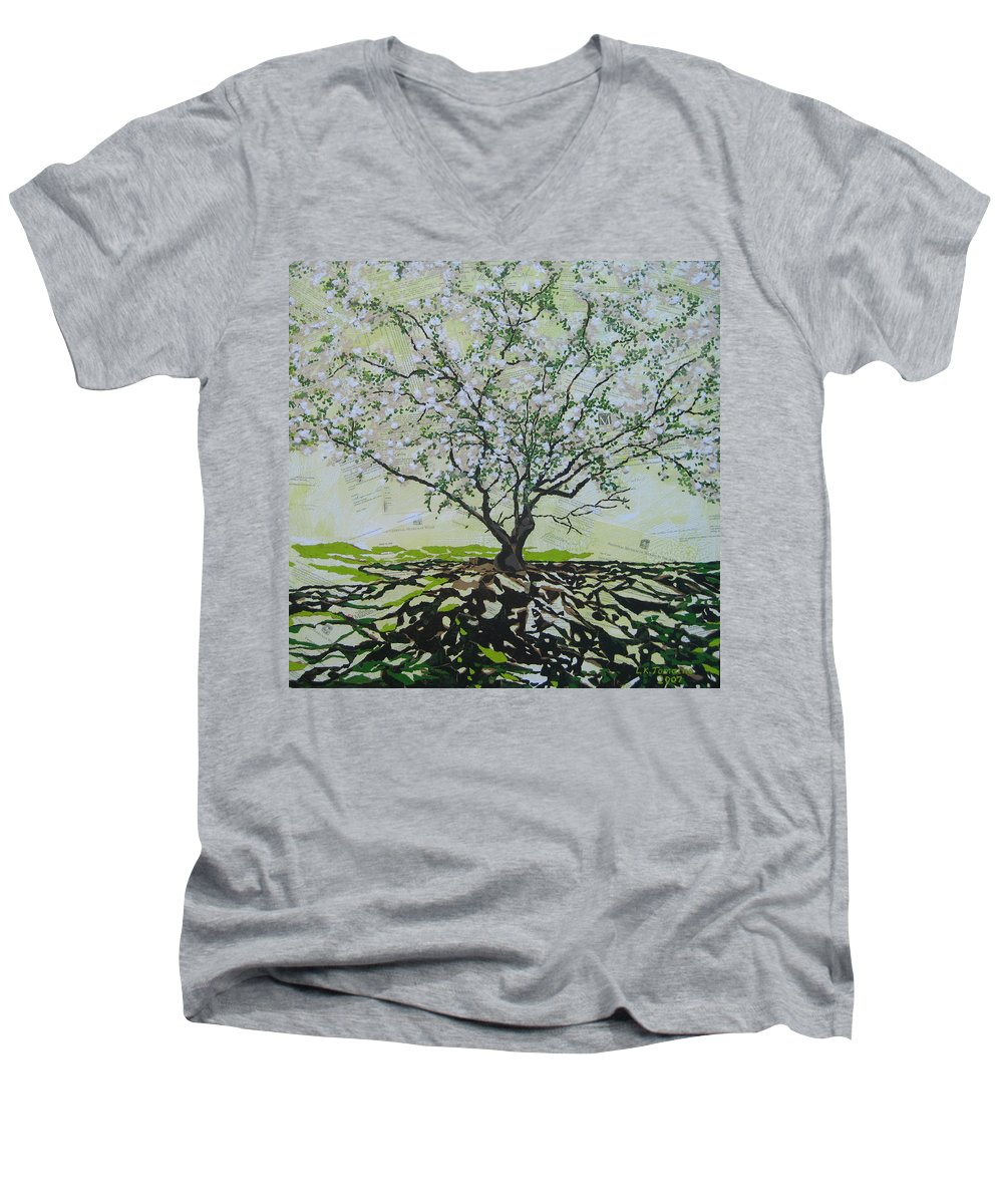 Apple Tree Men's V-Neck T-Shirt featuring the painting Sincerely-the Curator by Leah Tomaino