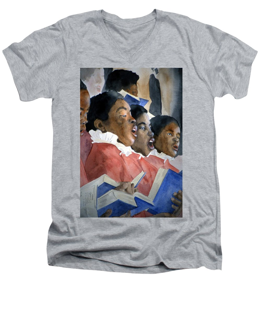 Choir Men's V-Neck T-Shirt featuring the painting Sing Out Your Joy by Jean Blackmer
