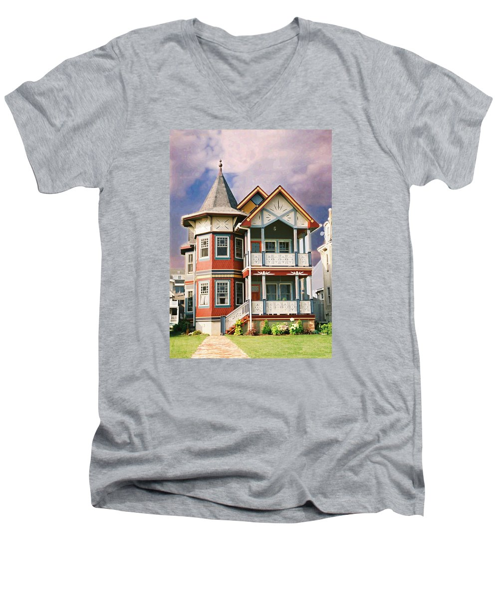 Landscape Men's V-Neck T-Shirt featuring the photograph Sisters Panel Two Of Triptych by Steve Karol