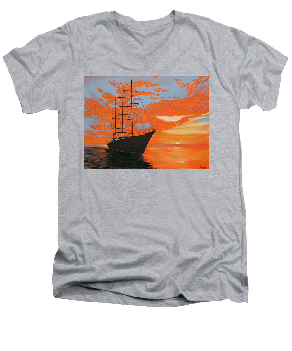 Seascape Men's V-Neck T-Shirt featuring the painting Sittin' On The Bay by Marco Morales