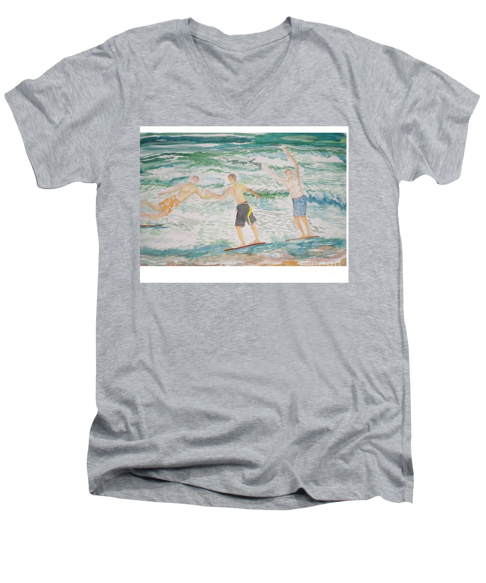 Seascape Men's V-Neck T-Shirt featuring the painting Skim Boarding Daytona Beach by Hal Newhouser