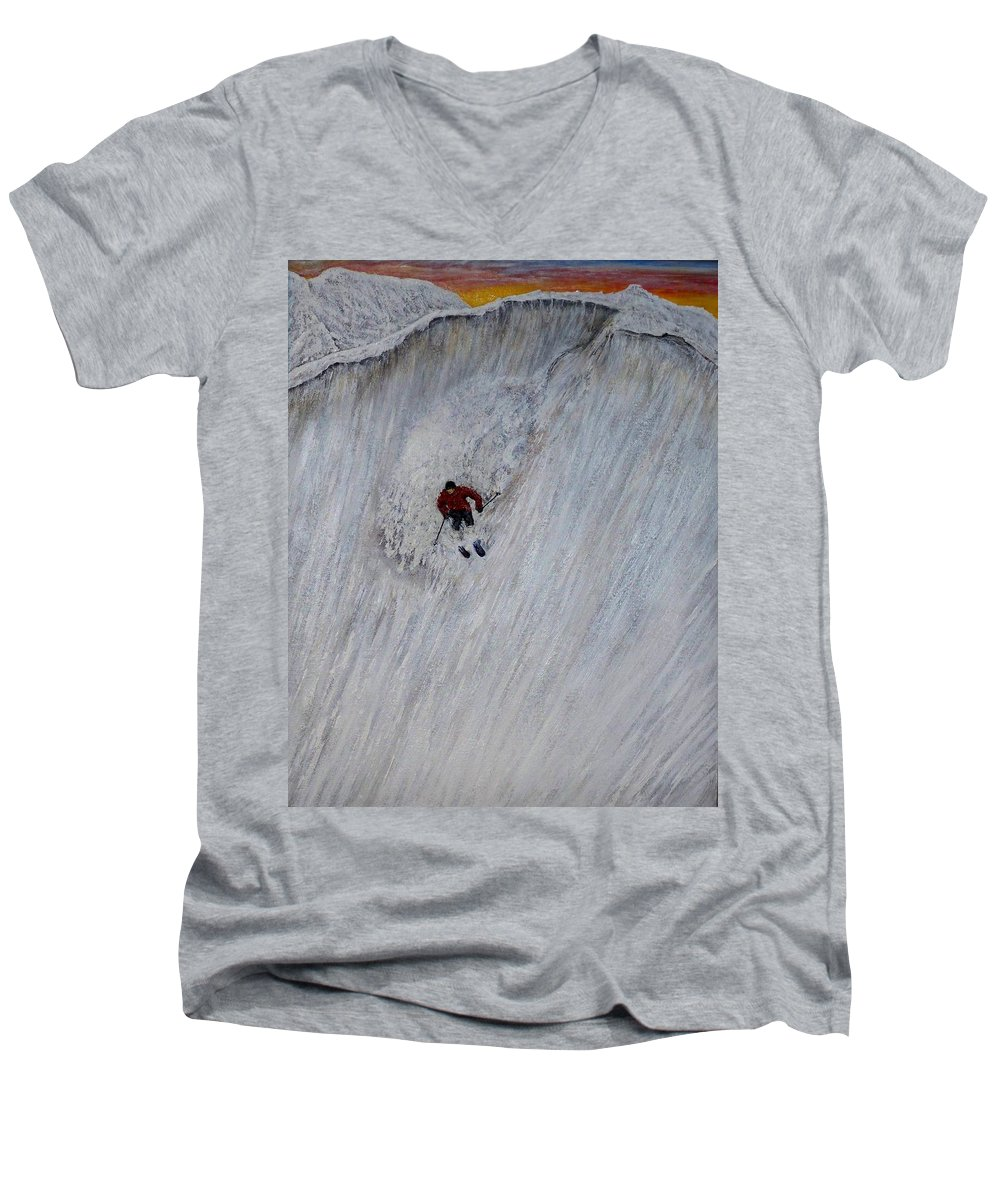 Landscape Men's V-Neck T-Shirt featuring the painting Skitilthend by Michael Cuozzo