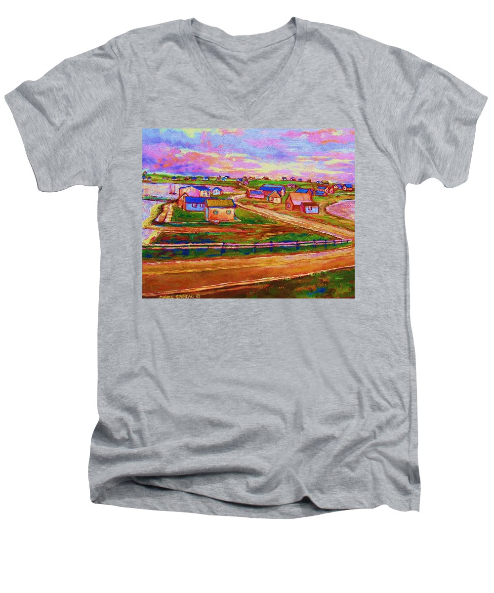 Sunrise Men's V-Neck T-Shirt featuring the painting Sleepy Little Village by Carole Spandau