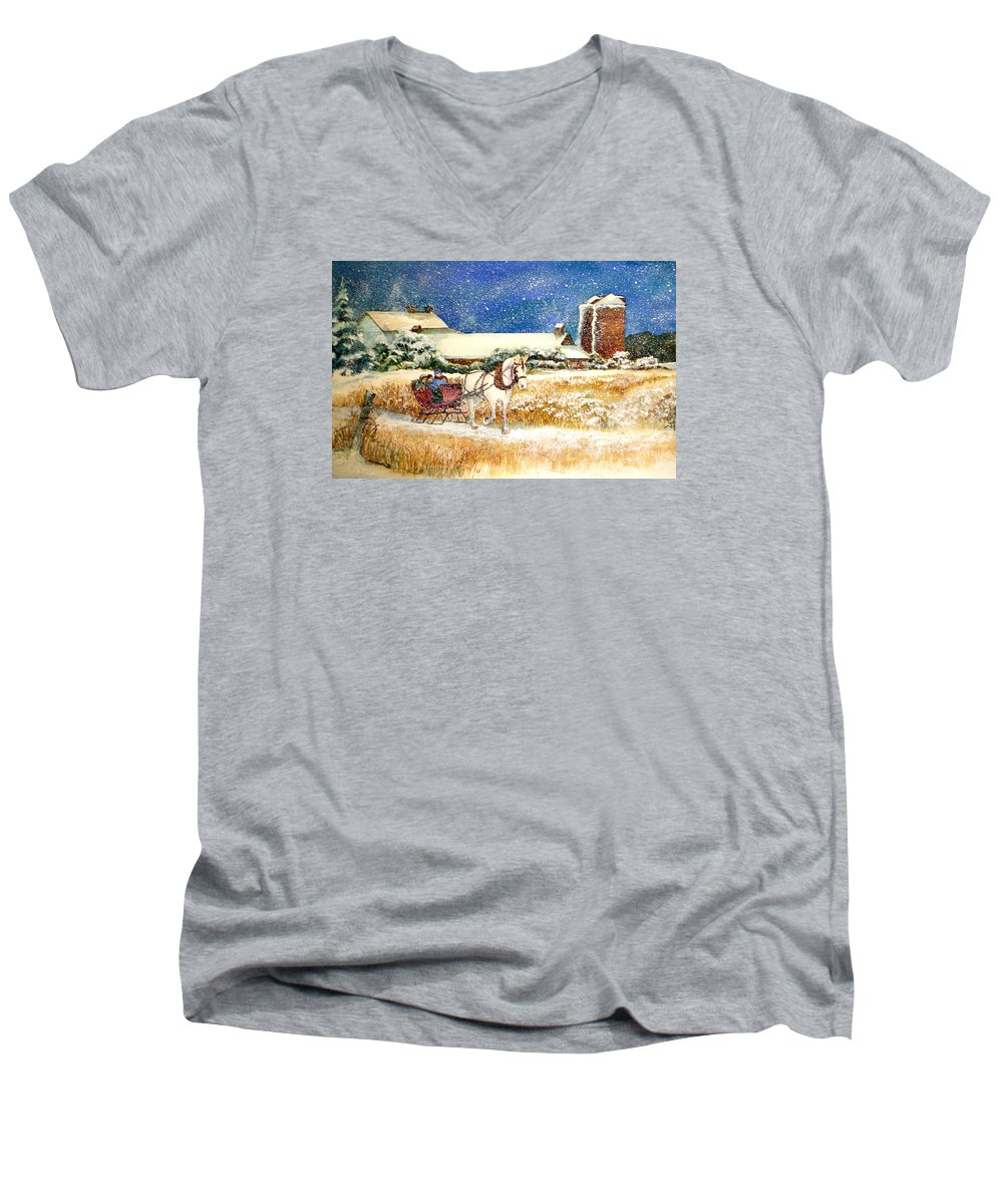 Watercolor;sleigh;horse;barn;silos;winter;snow;sleigh Ride;christmas; Men's V-Neck T-Shirt featuring the painting Sleigh Ride At Brickers by Lois Mountz