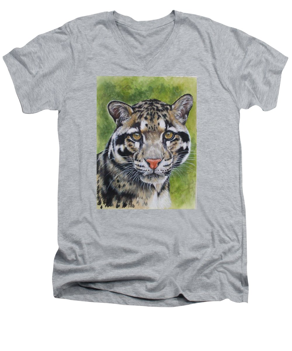 Clouded Leopard Men's V-Neck T-Shirt featuring the mixed media Small But Powerful by Barbara Keith