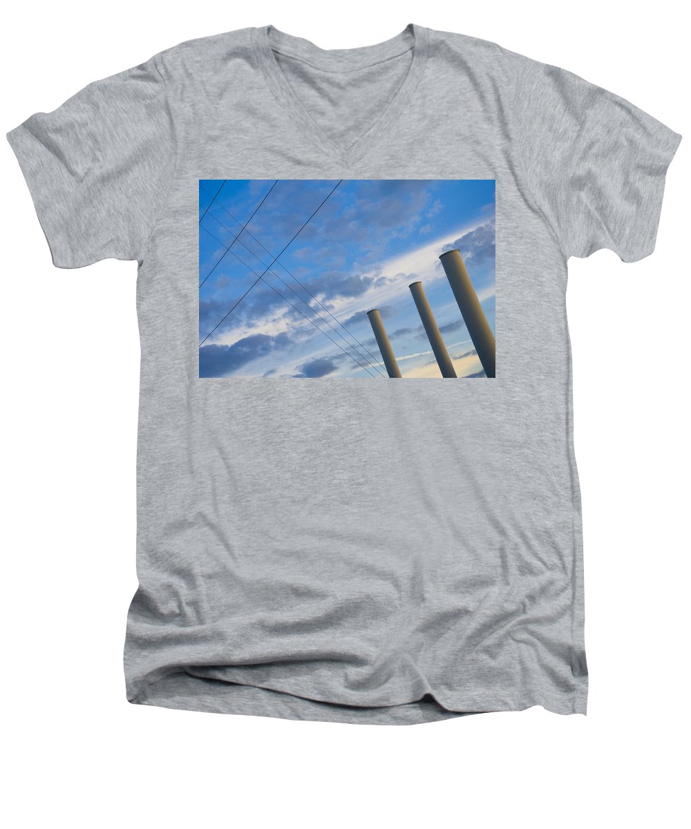 Blue Men's V-Neck T-Shirt featuring the photograph Smoke Stax by Skip Hunt
