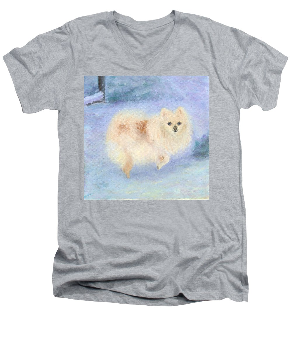Dog Men's V-Neck T-Shirt featuring the painting Snow Angel by Paula Emery