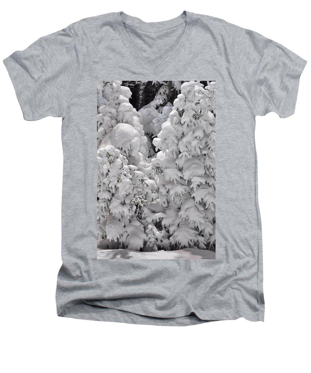 Snow Men's V-Neck T-Shirt featuring the photograph Snow Coat by Alex Grichenko