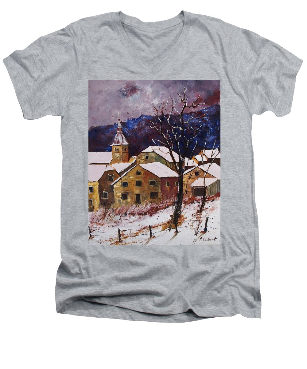 Landscape Men's V-Neck T-Shirt featuring the painting Snow In Chassepierre by Pol Ledent