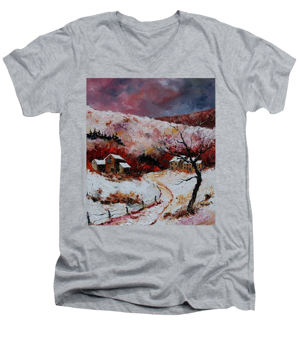 Snow Men's V-Neck T-Shirt featuring the painting Snow In The Ardennes 78 by Pol Ledent