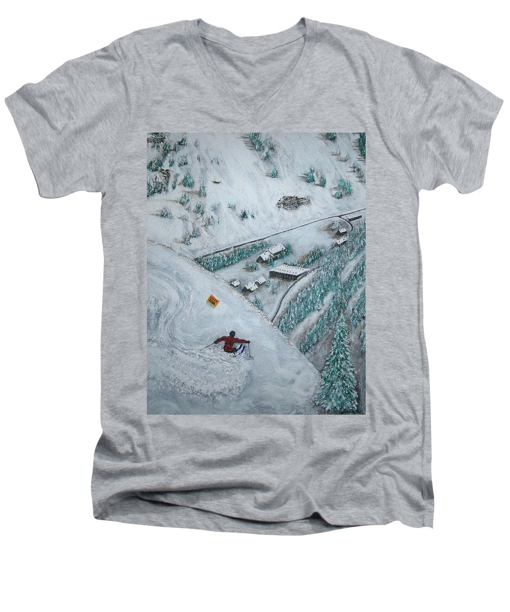 Ski Men's V-Neck T-Shirt featuring the painting Snowbird Steeps by Michael Cuozzo