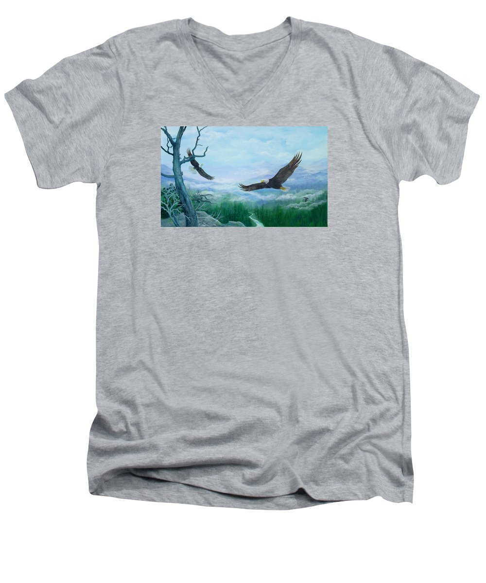 Eagles;birds;river Valley;mountains;sky; Men's V-Neck T-Shirt featuring the painting Soaring by Lois Mountz