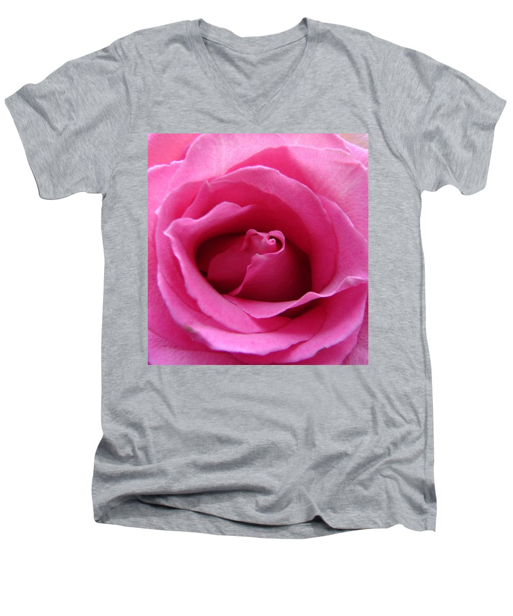 Rose Pink Pedals Men's V-Neck T-Shirt featuring the photograph Soft And Pink by Luciana Seymour