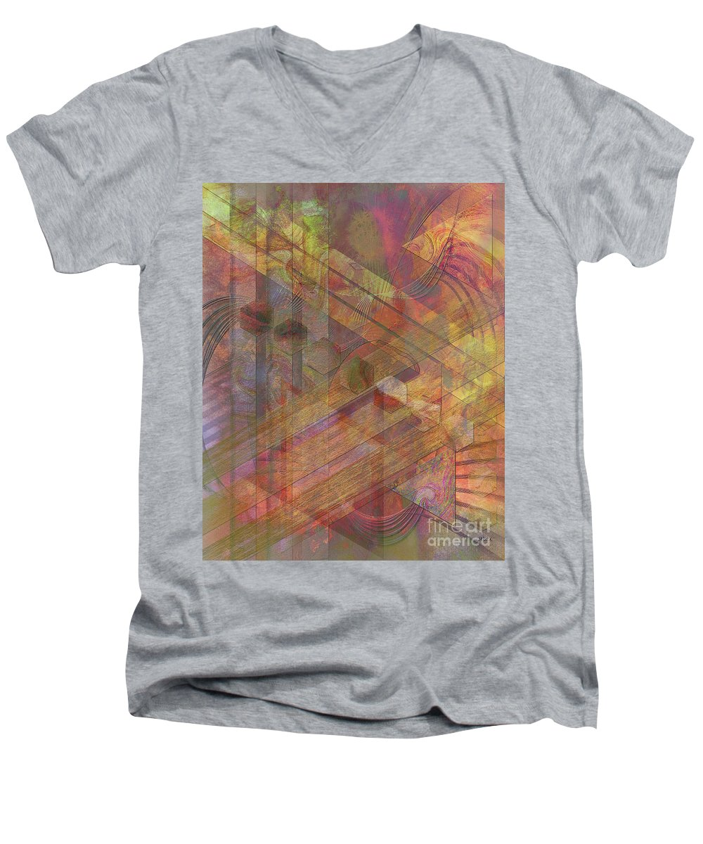 Soft Fantasia Men's V-Neck T-Shirt featuring the digital art Soft Fantasia by John Beck