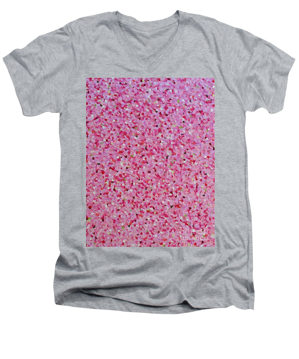 Abstract Men's V-Neck T-Shirt featuring the painting Soft Red Light by Dean Triolo