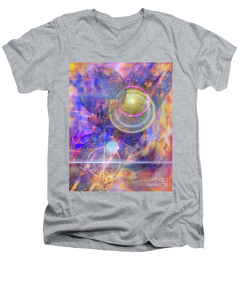 Solar Progression Men's V-Neck T-Shirt featuring the digital art Solar Progression by John Beck