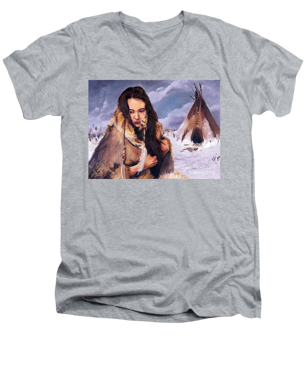 Southwest Art Men's V-Neck T-Shirt featuring the painting Solitude by J W Baker
